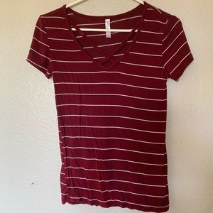 Burgundy and white striped top
